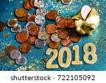 piggy bank and pound gbp coins | Shutterstock . vector #722105092
