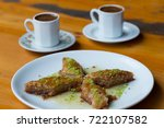homemade baklava with nuts and... | Shutterstock . vector #722107582