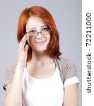 Young businesswomen in white with glasses. - stock photo