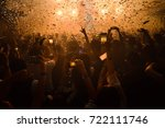 party people concept. crowd... | Shutterstock . vector #722111746