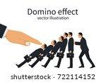 domino effect concept. big hand ... | Shutterstock .eps vector #722114152