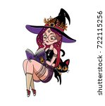beautiful cartoon witch in... | Shutterstock .eps vector #722115256