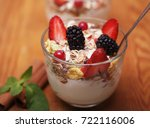 healthy food   granola with... | Shutterstock . vector #722116006