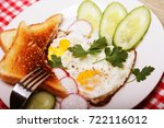 fried eggs and toast  ... | Shutterstock . vector #722116012