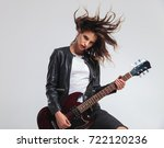 cool headbanging rock and roll... | Shutterstock . vector #722120236