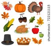 thanksgiving food celebration... | Shutterstock .eps vector #722121115