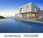 luxury beach house with sea...   Shutterstock . vector #722122585