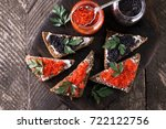 red and black caviar in small... | Shutterstock . vector #722122756