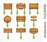 wooden signboards  wood arrow... | Shutterstock .eps vector #722130988