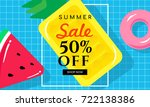 summer sale vector illustration ... | Shutterstock .eps vector #722138386