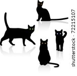 Stock vector black cats black cats with colorful eyes against a white background vector illustration 72215107