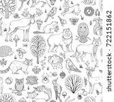 vector doodles woodland... | Shutterstock .eps vector #722151862