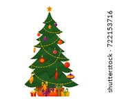 christmas tree decorated vector ...   Shutterstock .eps vector #722153716
