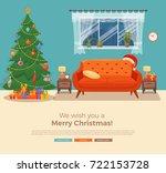 christmas room interior in... | Shutterstock .eps vector #722153728