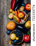 autumn vegetables fruits on... | Shutterstock . vector #722153776