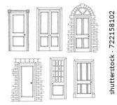doors set graphic black white... | Shutterstock .eps vector #722158102