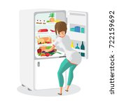 young woman housewife takes out ... | Shutterstock .eps vector #722159692