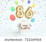 happy birthday 86 years... | Shutterstock . vector #722169565