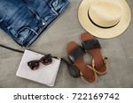 set of shoes  sunglasses  hat ... | Shutterstock . vector #722169742
