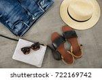 set of shoes  sunglasses  hat ... | Shutterstock . vector #722169742