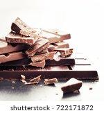 choped chocolate bars   | Shutterstock . vector #722171872