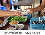 cook's hand giving noodles bowl ... | Shutterstock . vector #722175796