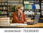 senior woman using laptop in... | Shutterstock . vector #722181835