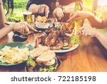 close up hand  eating.group of...   Shutterstock . vector #722185198