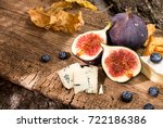 figs  half of figs  brie and... | Shutterstock . vector #722186386