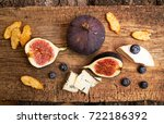 figs  half of figs  brie and... | Shutterstock . vector #722186392