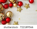 red and gold christmas...   Shutterstock . vector #722189566