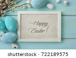 colorful easter eggs and spring ... | Shutterstock . vector #722189575