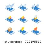 simple set of web icons in flat ... | Shutterstock .eps vector #722195512