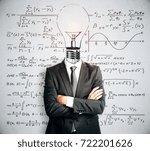 light bulb headed businessman... | Shutterstock . vector #722201626
