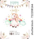 isolated cute watercolor... | Shutterstock . vector #722208166