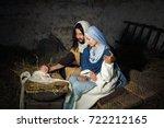 live christmas nativity scene... | Shutterstock . vector #722212165