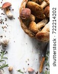 Small photo of Mushroom cooking recipe background; organic porcini ; seasoning forest Mushroom and Italian Spices Herb