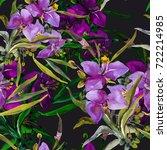 summer garden flowers seamless  ... | Shutterstock . vector #722214985