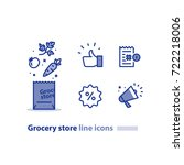 grocery store line icon set ... | Shutterstock .eps vector #722218006