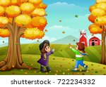 vector illustration of cute two ... | Shutterstock .eps vector #722234332