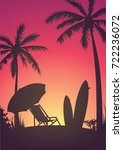 silhouette of the beach  a... | Shutterstock .eps vector #722236072