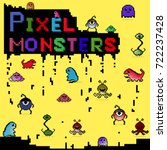 set of pixel colorful monsters. ... | Shutterstock . vector #722237428