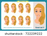 set of woman expression... | Shutterstock .eps vector #722239222