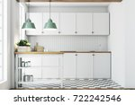 white kitchen interior with a... | Shutterstock . vector #722242546