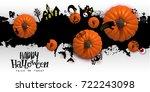 happy halloween paper art...   Shutterstock .eps vector #722243098