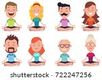 meditation of young and senior... | Shutterstock .eps vector #722247256