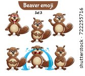 vector set of cute beaver... | Shutterstock .eps vector #722255716