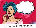pop art makeup. closeup of sexy ... | Shutterstock .eps vector #722257528
