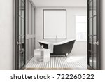 white bathroom interior with a... | Shutterstock . vector #722260522