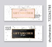 gift voucher template with gold ... | Shutterstock .eps vector #722261785